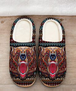 bear with native american symbol all over printed slippers 2