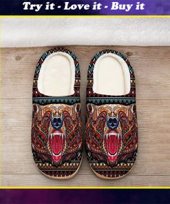 bear with native american symbol all over printed slippers