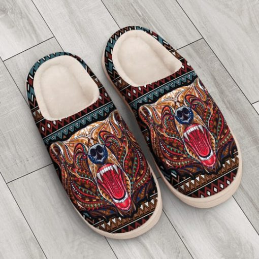 bear with native american symbol all over printed slippers 4