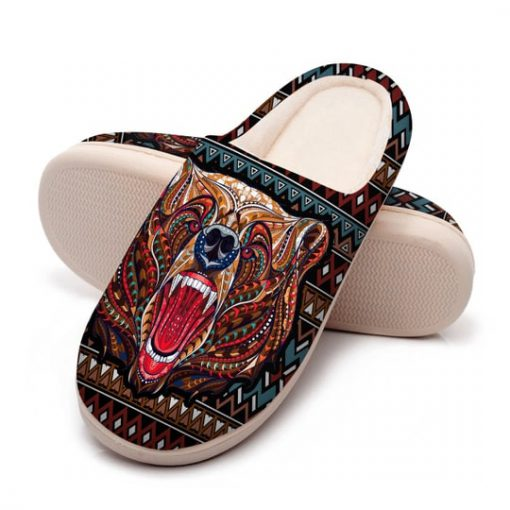 bear with native american symbol all over printed slippers 5