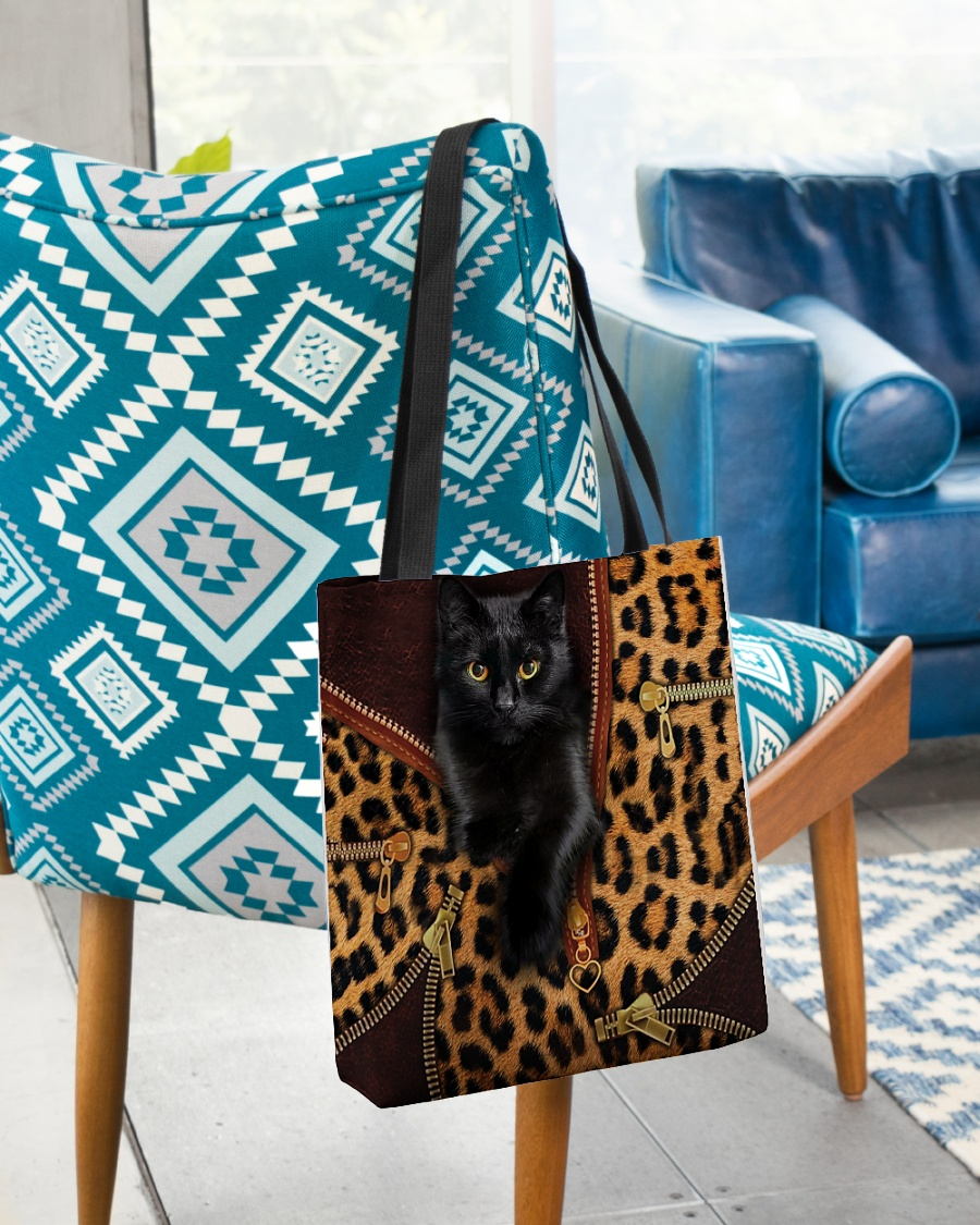 black cat leopard leather pattern all over printed tote bag 3
