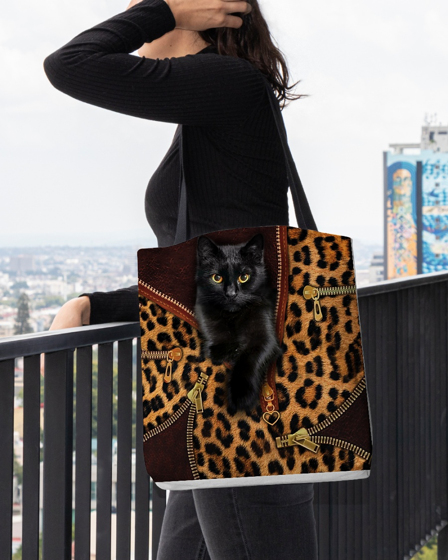 black cat leopard leather pattern all over printed tote bag 5