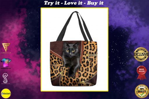 black cat leopard leather pattern all over printed tote bag