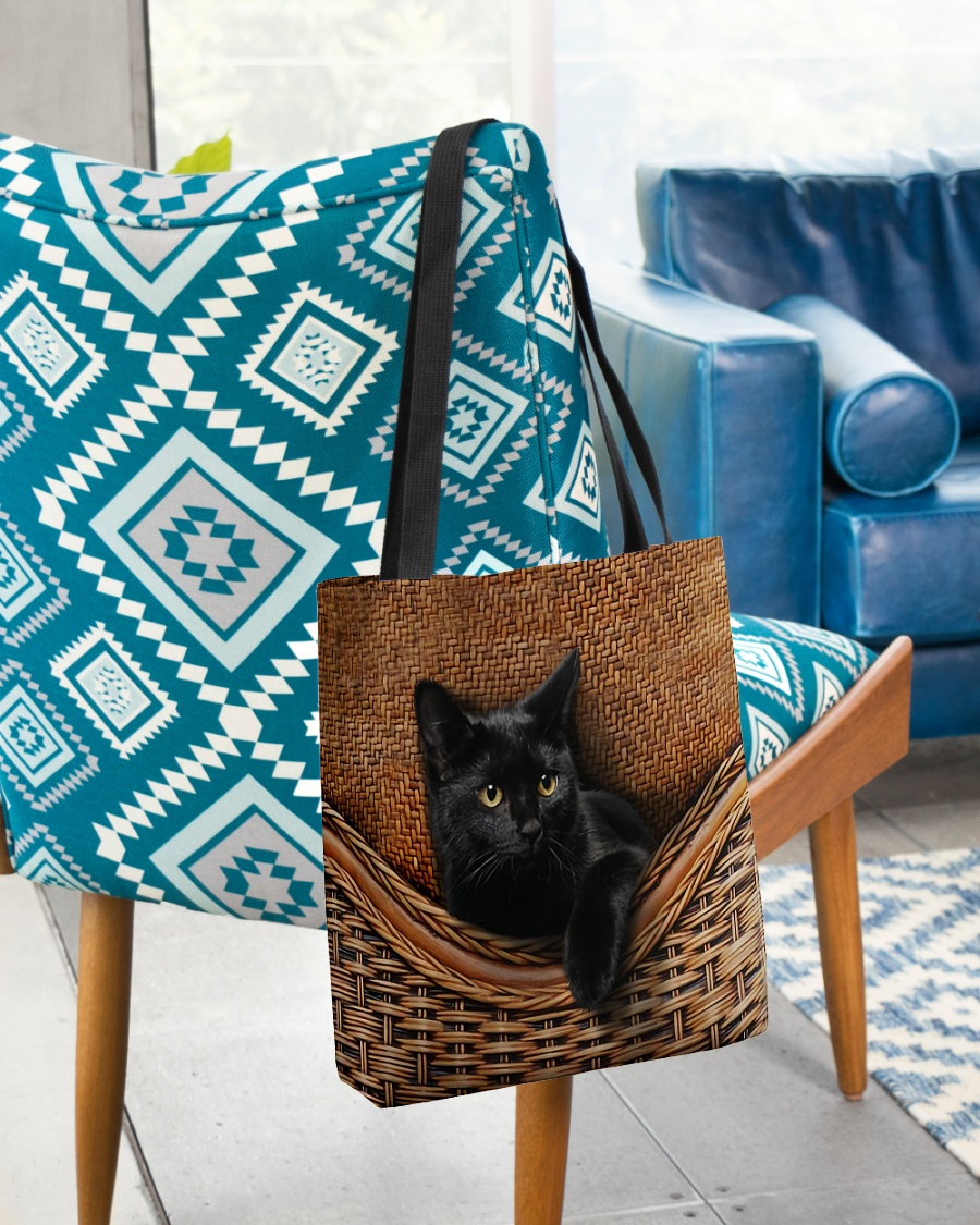 black cat lovers all over printed tote bag 2