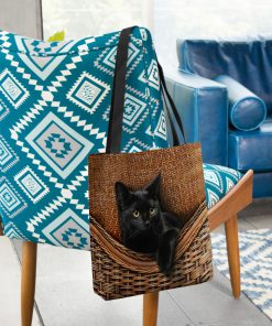black cat lovers all over printed tote bag 3