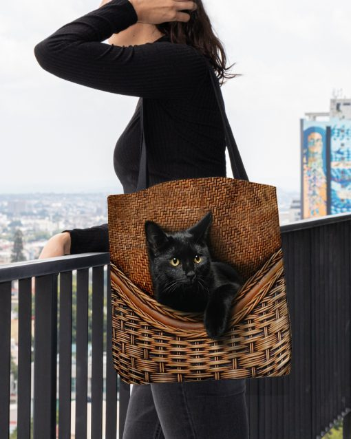 black cat lovers all over printed tote bag 4
