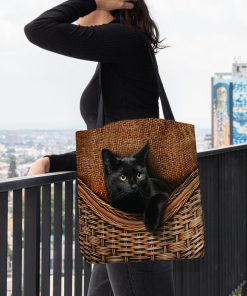 black cat lovers all over printed tote bag 5