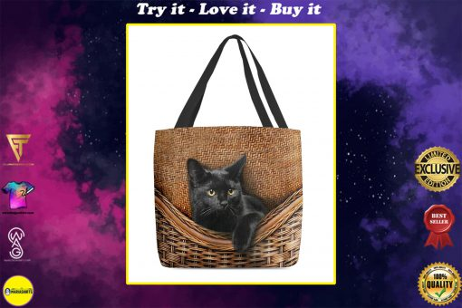 black cat lovers all over printed tote bag