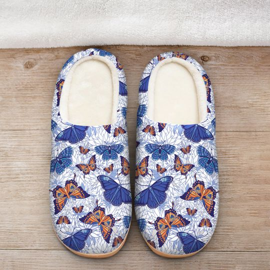 blue butterflies all over printed slippers 2
