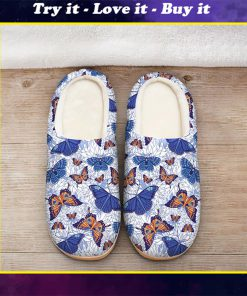 blue butterflies all over printed slippers