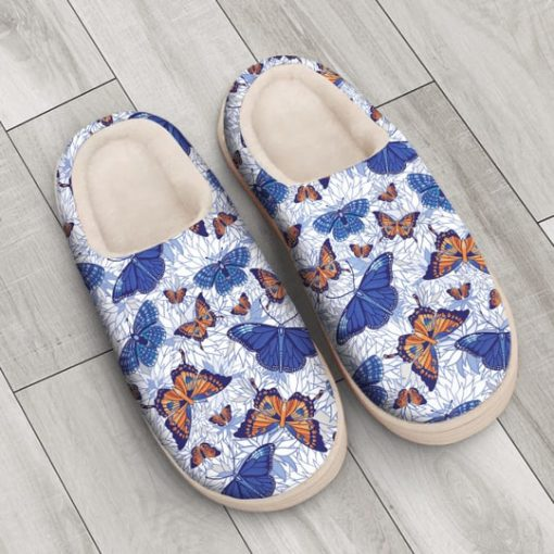blue butterflies all over printed slippers 4
