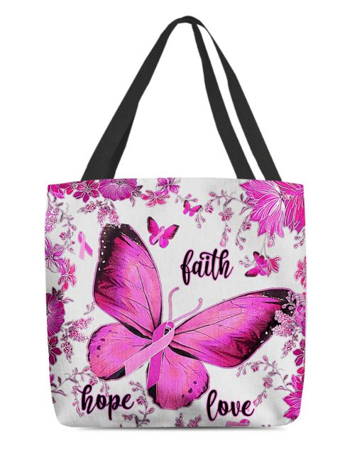 breast cancer awareness butterfly faith hope love all over printed tote bag 2
