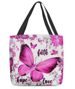 breast cancer awareness butterfly faith hope love all over printed tote bag 3