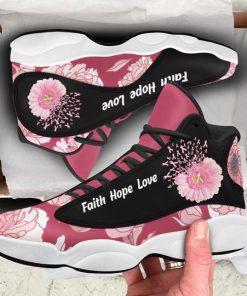 breast cancer flower faith hope love air jordan 13 sneakers 2
