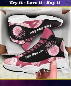 breast cancer flower faith hope love air jordan 13 sneakers