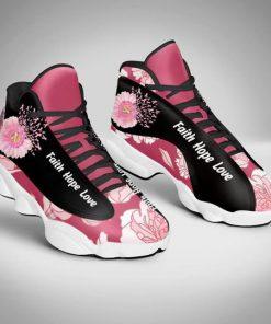 breast cancer flower faith hope love air jordan 13 sneakers 4