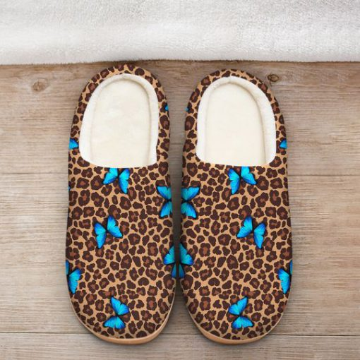 butterfly and leopard all over printed slippers 2