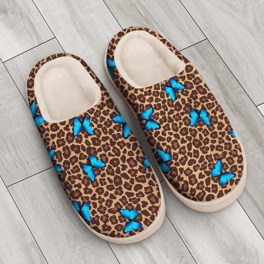 butterfly and leopard all over printed slippers 3