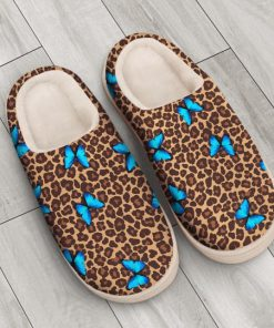 butterfly and leopard all over printed slippers 4