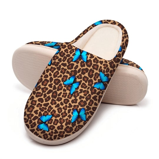butterfly and leopard all over printed slippers 5