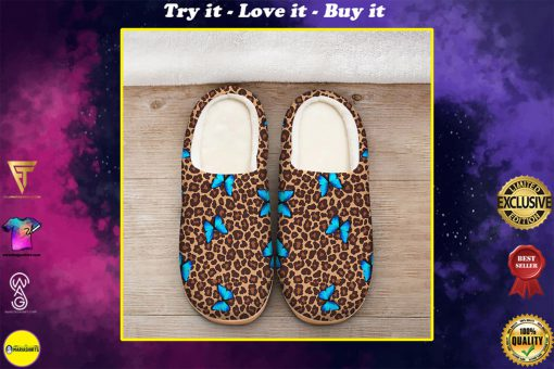 butterfly and leopard all over printed slippers