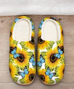 butterfly and sunflower all over printed slippers 2