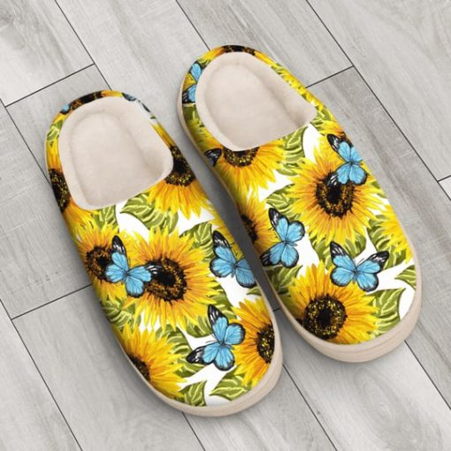 butterfly and sunflower all over printed slippers 4