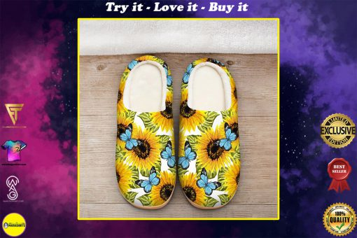 butterfly and sunflower all over printed slippers