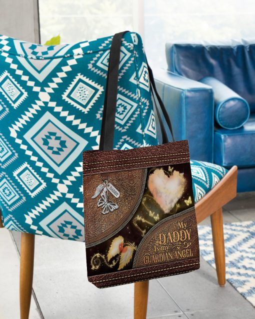 butterfly my daddy is my guardian angel vintage leather pattern all over printed tote bag 2