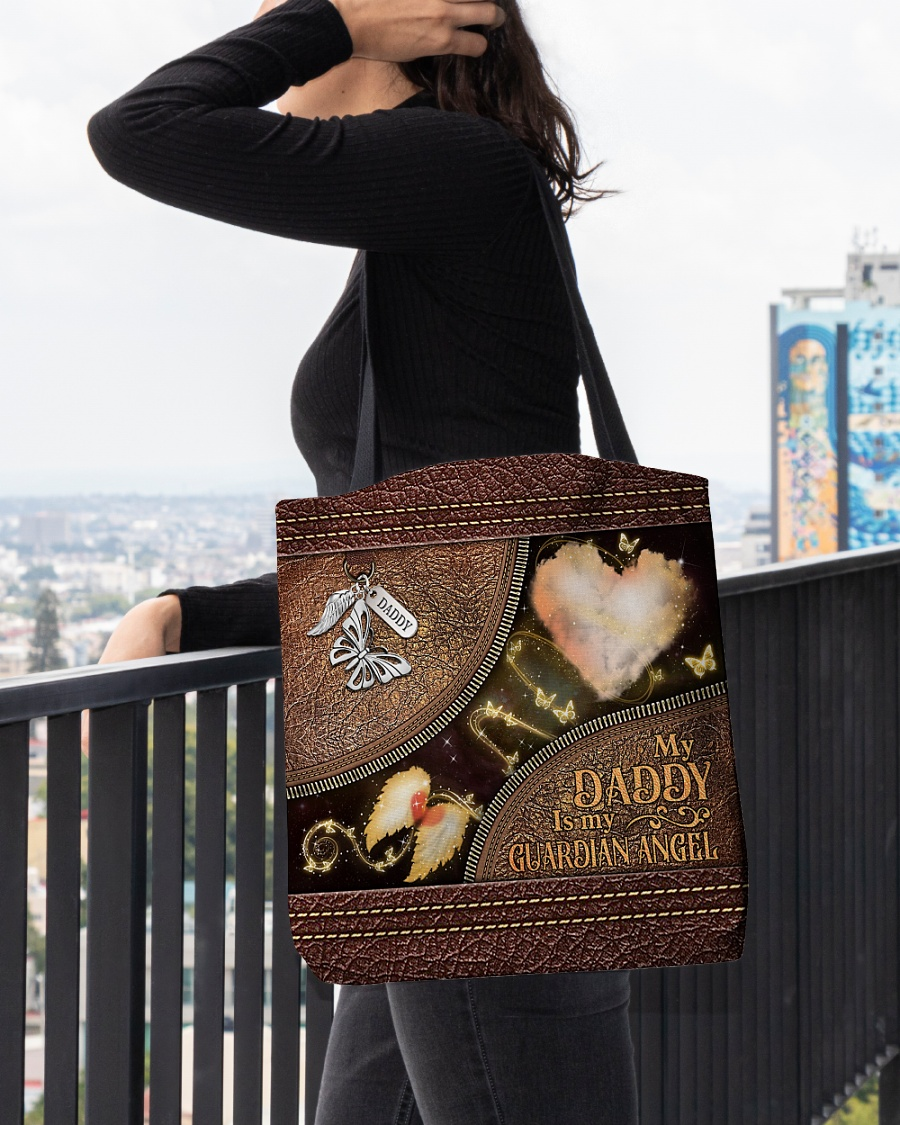 butterfly my daddy is my guardian angel vintage leather pattern all over printed tote bag 4