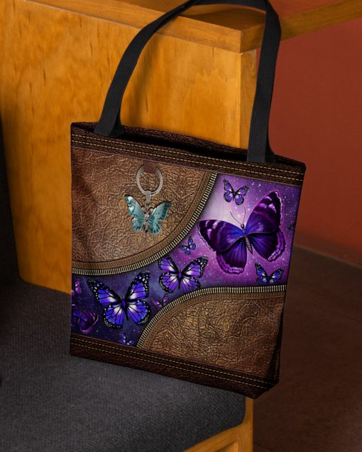 butterfly night leather pattern all over print tote bag 2