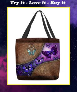 butterfly night leather pattern all over print tote bag