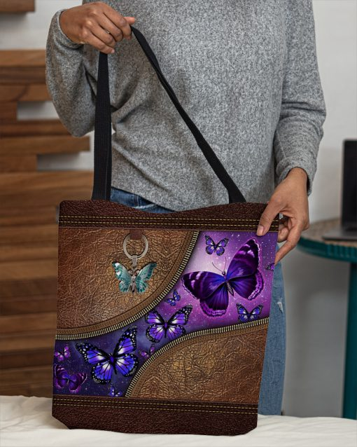 butterfly night leather pattern all over print tote bag 4