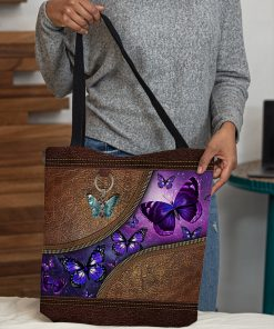 butterfly night leather pattern all over print tote bag 5