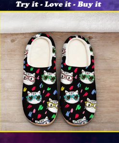 cats in sunglasses all over printed slippers