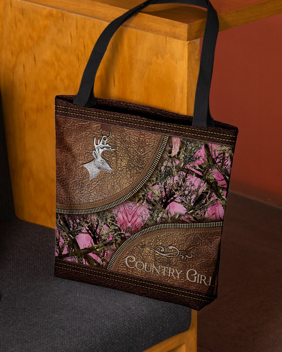 country girl leather pattern all over printed tote bag 2