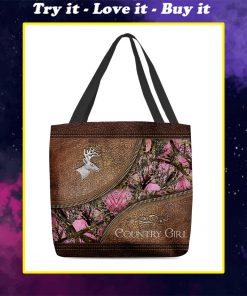 country girl leather pattern all over printed tote bag