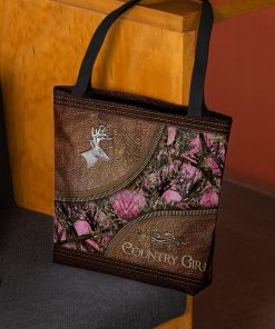 country girl leather pattern all over printed tote bag 3