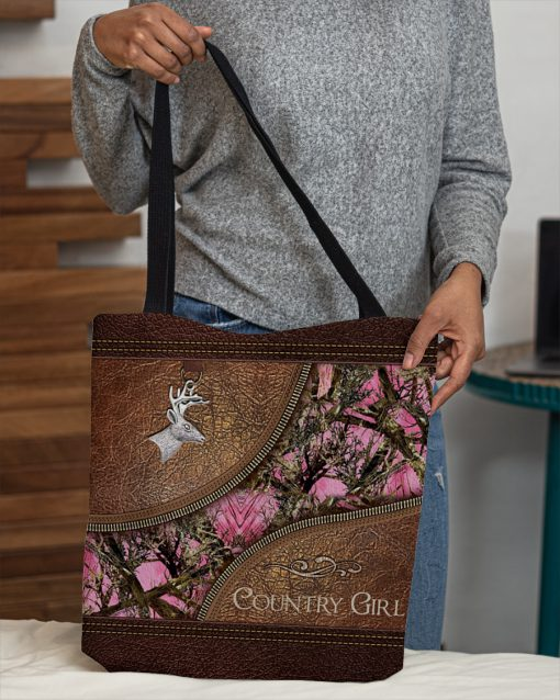 country girl leather pattern all over printed tote bag 5