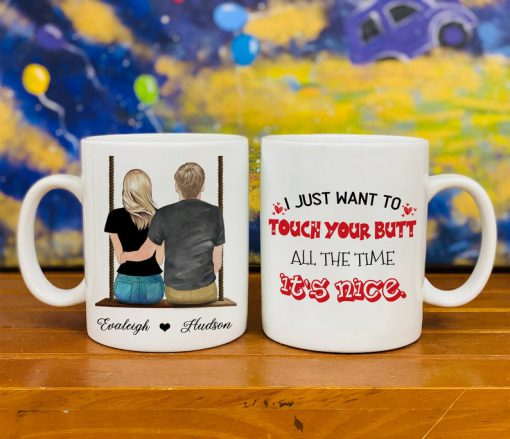 custom name i just want to touch your butt valentines day gift mug 2