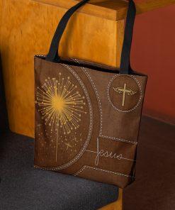 dandelion Jesus leather pattern all over printed tote bag 3