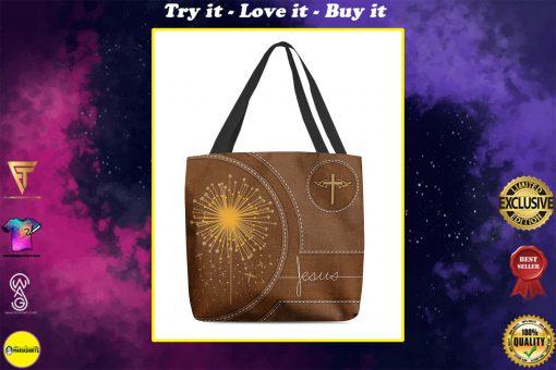 dandelion Jesus leather pattern all over printed tote bag
