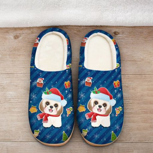 dog with santa hat all over printed slippers 2