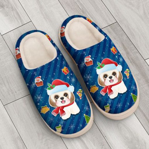 dog with santa hat all over printed slippers 3