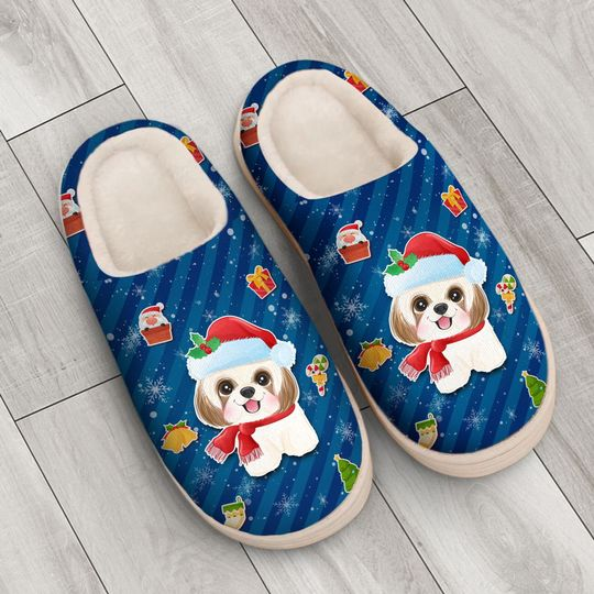 dog with santa hat all over printed slippers 4