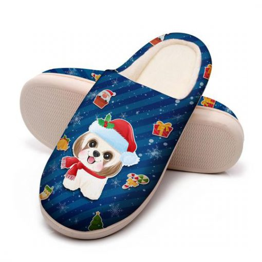 dog with santa hat all over printed slippers 5