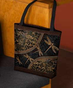 dragonflies leather pattern all over print tote bag 2