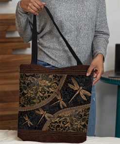 dragonflies leather pattern all over print tote bag 4