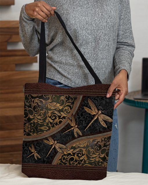 dragonflies leather pattern all over print tote bag 5