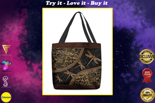 dragonflies leather pattern all over print tote bag